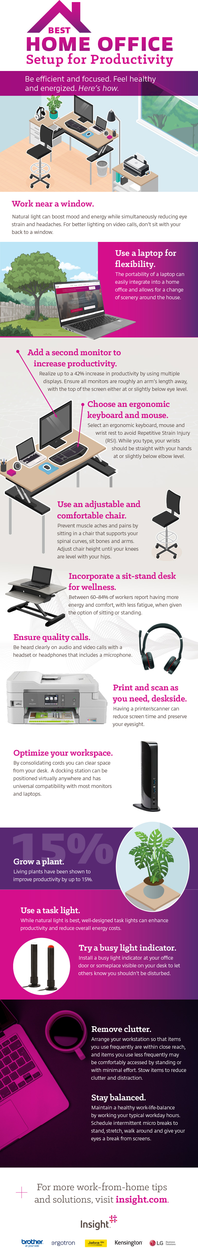 Infographic displaying how to set up your home office for success. Translated below.