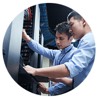 IT technicians review data center logistics