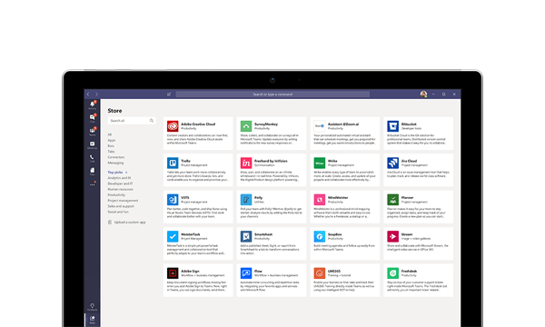 Microsoft Teams screenshot of apps