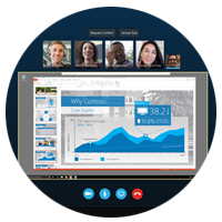 Skype webinars meeting with those dialed in and content shown displayed on notebook computer
