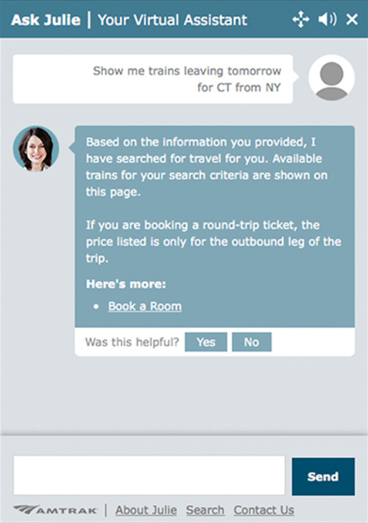 Example of a chatbot virtual assistant in use