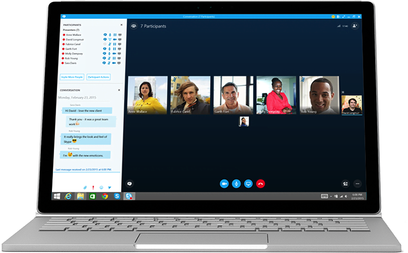 Skype online meeting with 6 members dialed in displayed on notebook computer